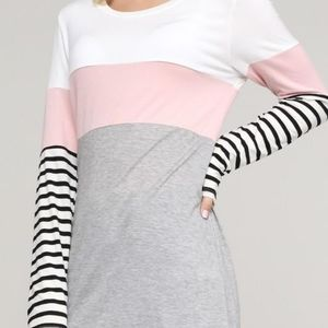 STRIPED LONG SLEEVE COLOR BLOCK TOP